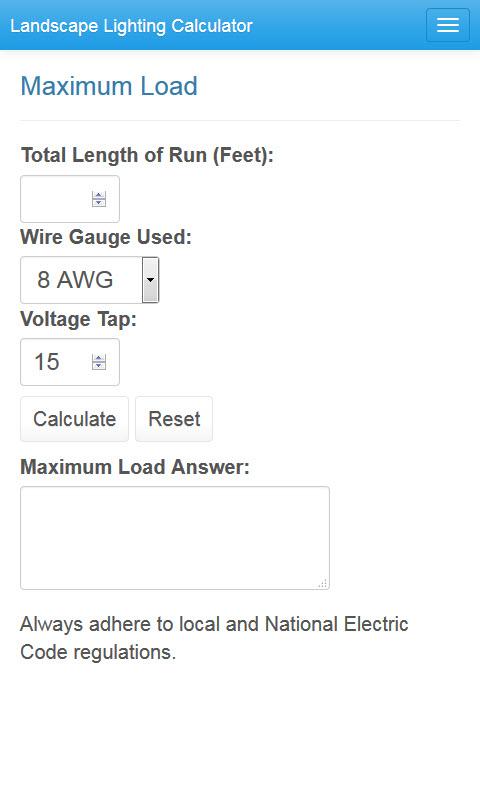 Landscape lighting calculator home calculator maximum wattage va greentooth Image collections